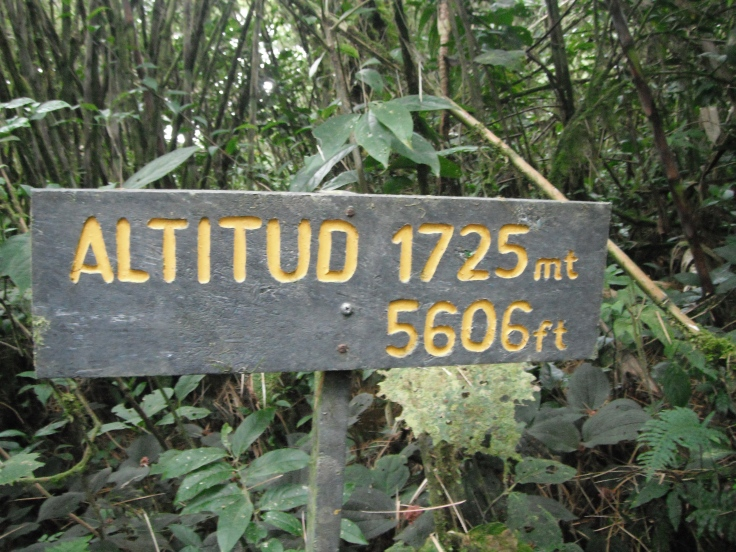 Monteverde Reserve sign highlighting the current altitude of 1725m / 5696ft