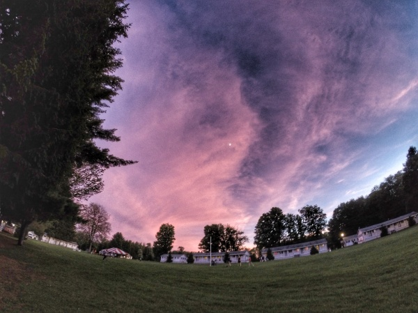 Sunset at camp Cayuga above the quad