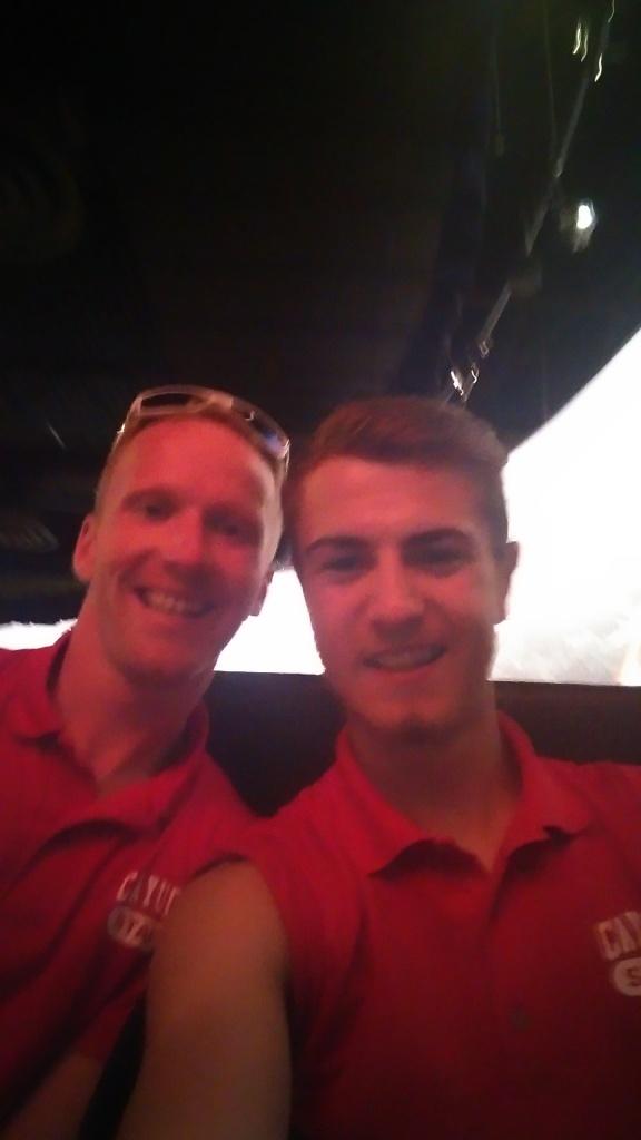 Calum Everitt & Jan Filip, in camp Cayuga staff tops