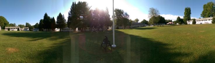 The Quad and Flag pole at Camp Cayuga