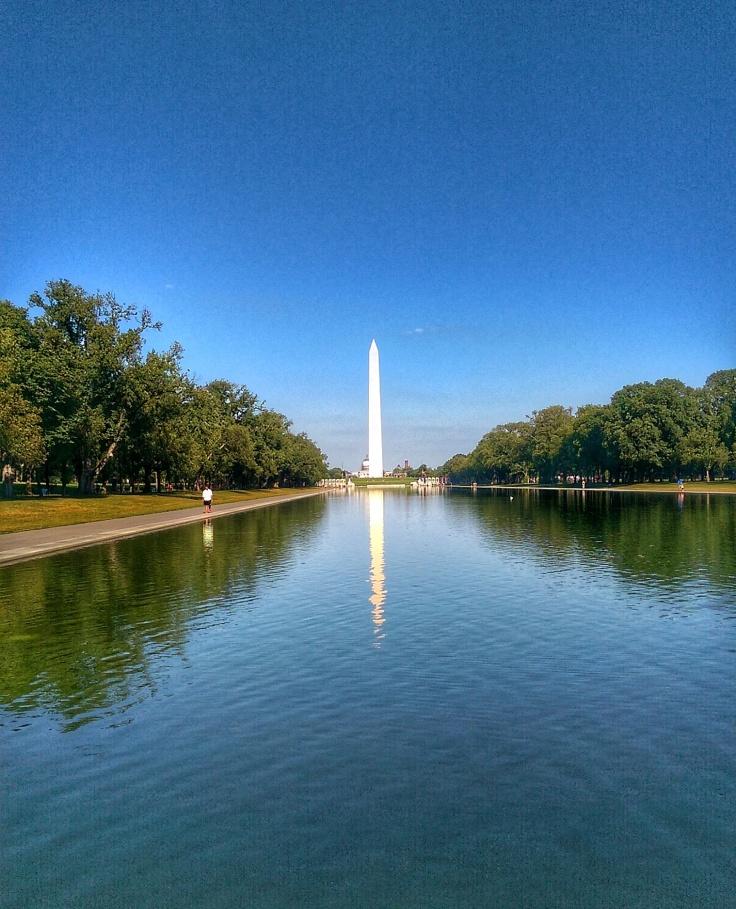 Washington Monument, and the reflecting pool