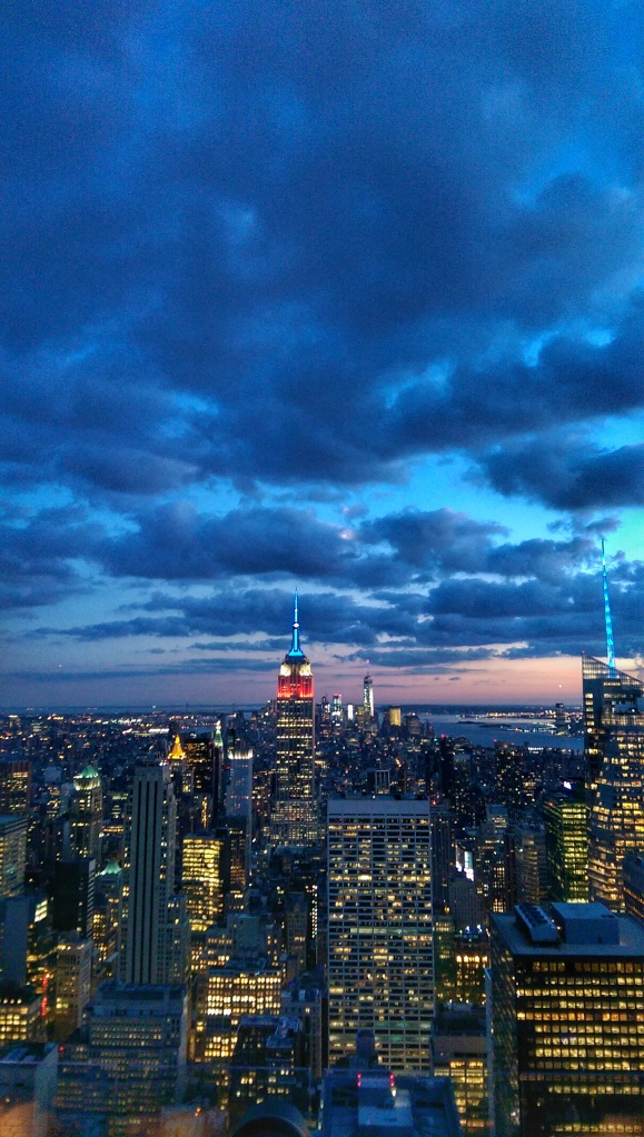Empire State Building at sunset, viewed from the top of the Rockefeller Centre