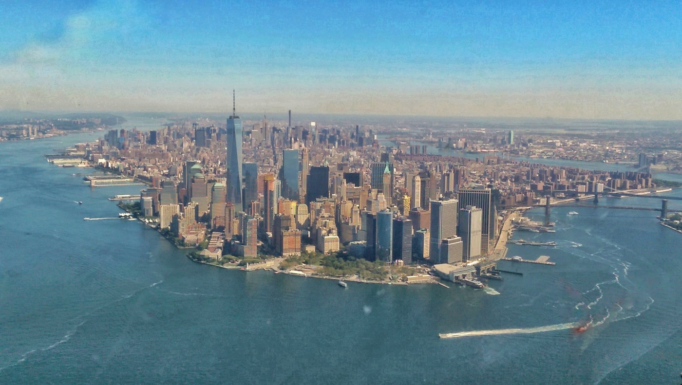 New York Skyline, view from a Helicopter looking back on the city.