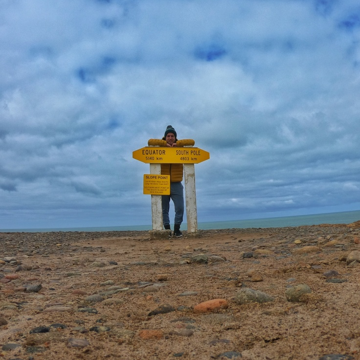 A man at slope point, New Zealand