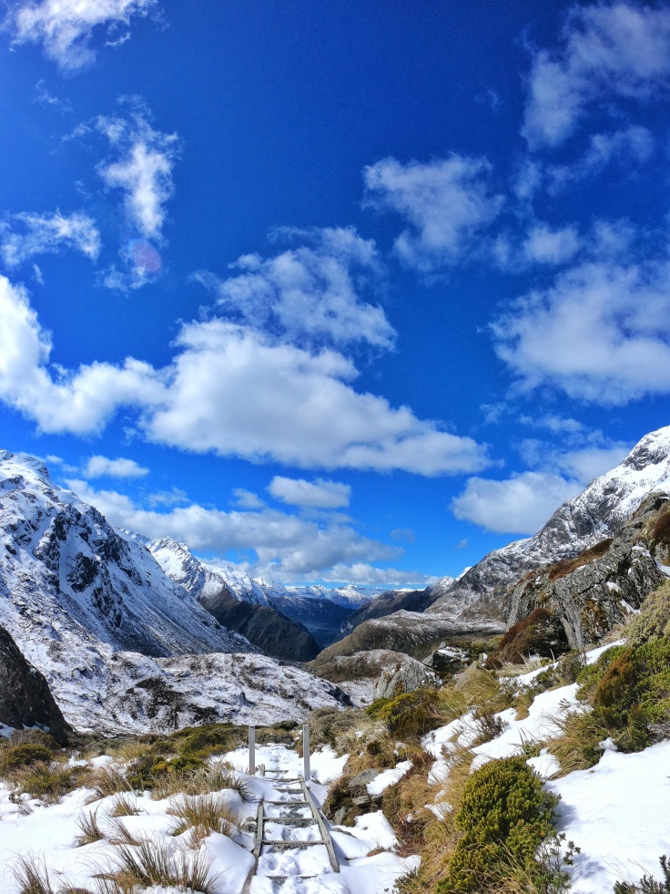View down the valley from Lake Harris on the Routeburn Track New Zealand