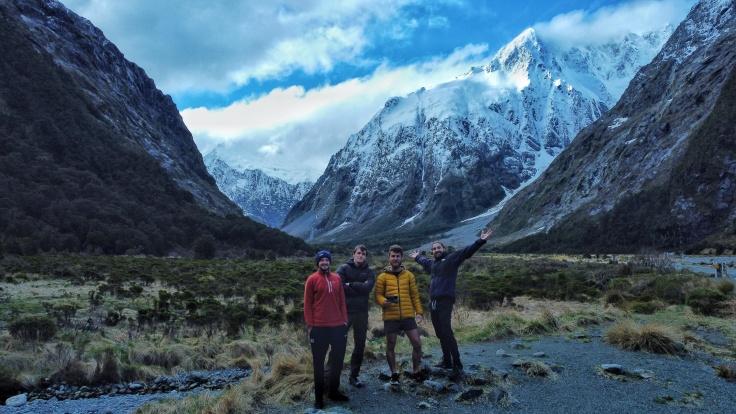4 friends at Monkey Creek Lockout, Milford Road, New Zealand