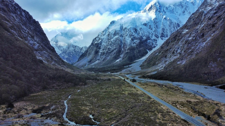 Monkey Creek Lockout, Milford Sound Road, from a Drone