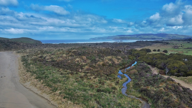 Cannibal Bay, New Zealand captured from a drone