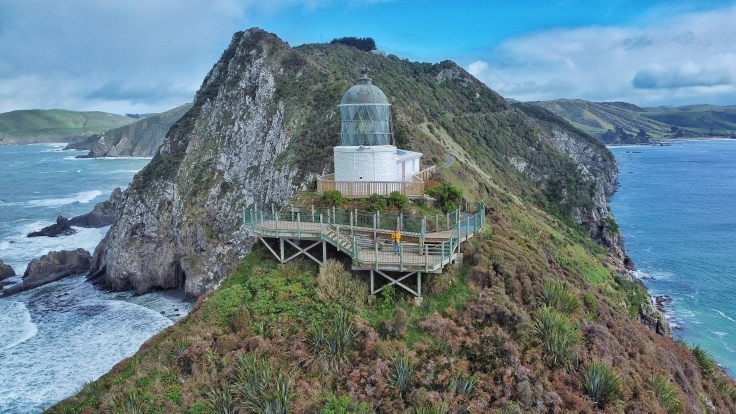 Nugget Point Lighthouse, New Zealand, captured from a drone